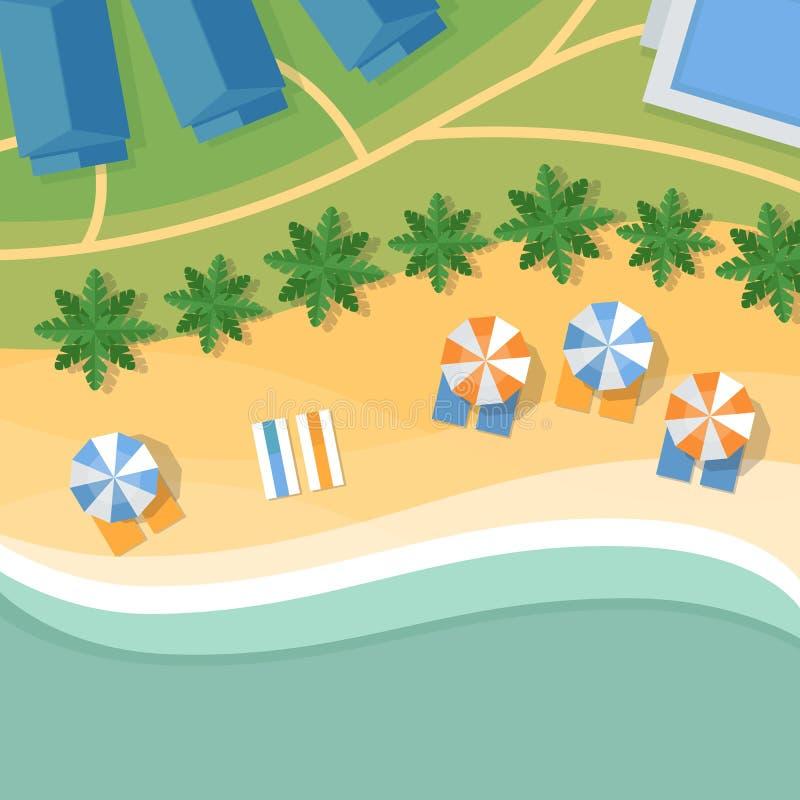 Bästa sikt av en tropisk strand Palmträd, paraplyer och vardagsrum c royaltyfri illustrationer