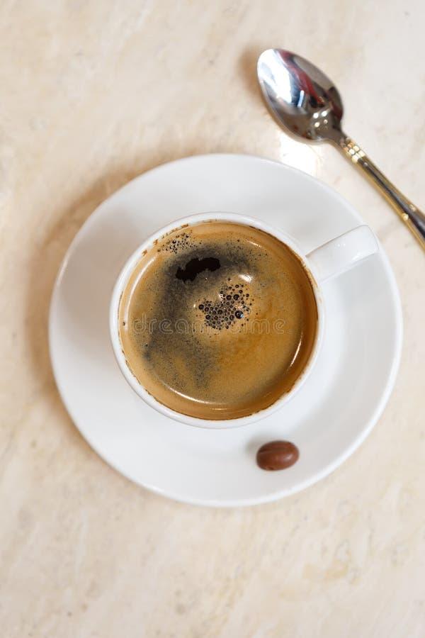 Bästa sikt av espressokaffe royaltyfri foto