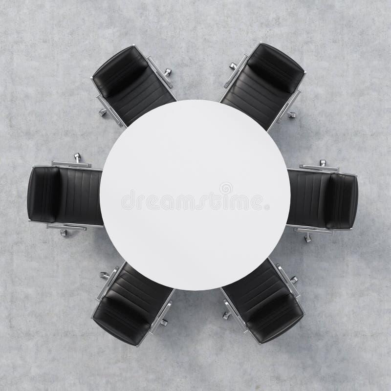 Bästa sikt av ett konferensrum En vit rund tabell och sex stolar omkring Abstrakt 3d framförde inomhus utrymme framförande 3d royaltyfri foto