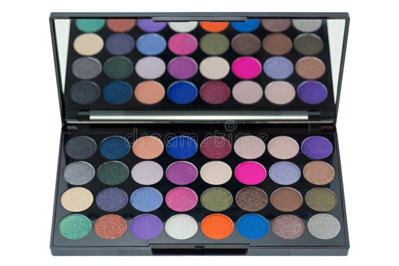 Bästa sikt av färgrik ögonskugga Closeup av makeupskönhetsmedelpaleten royaltyfri foto