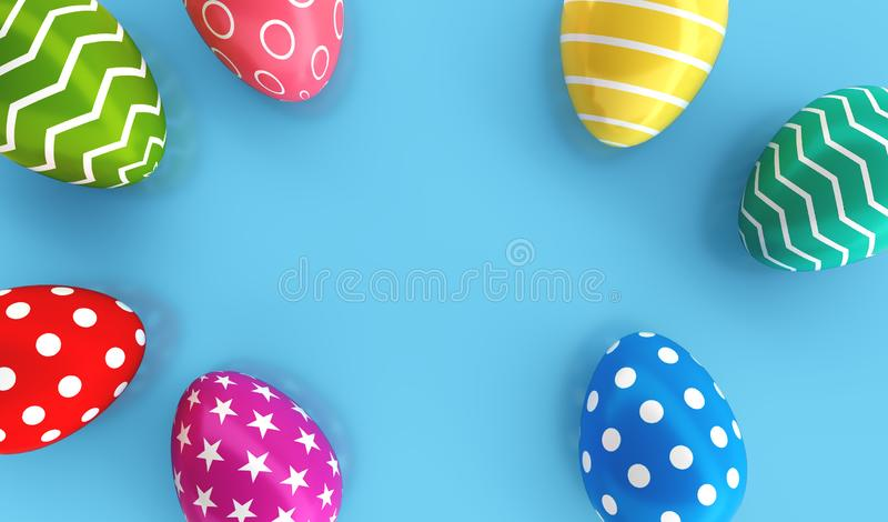 Bästa sikt av färgrika målade påskägg på blå golvbakgrund ferie och festivalbegrepp Prickstjärna och linje fantasimodell stock illustrationer