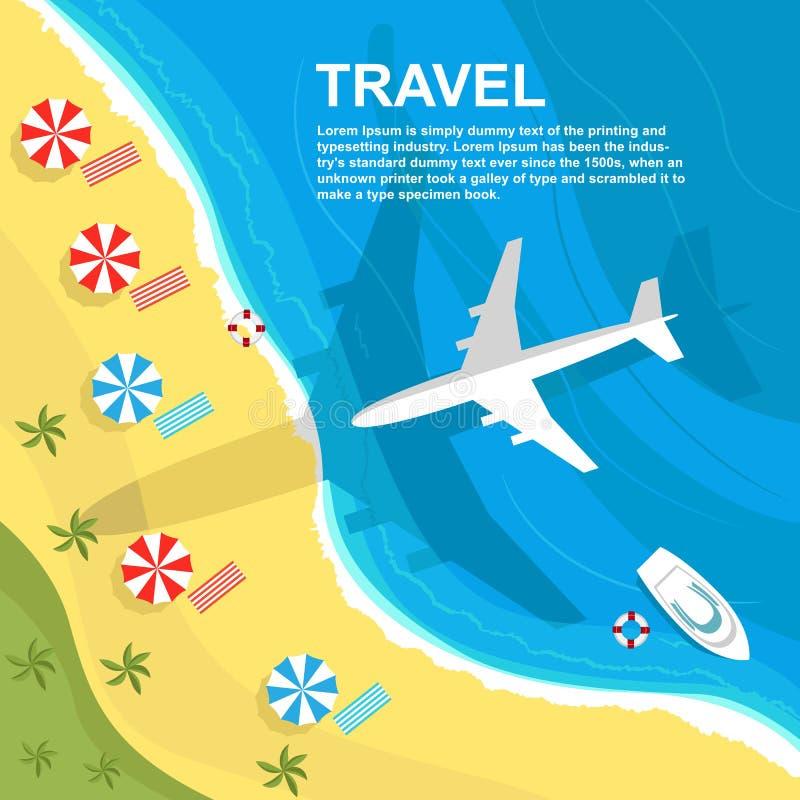 Bästa sikt av flygplanet som flyger över kusten med paraplyer och fartyg stock illustrationer