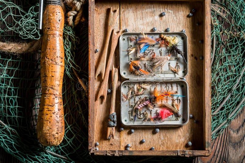 Bästa sikt av handgjord utrustning för att fiska royaltyfria bilder