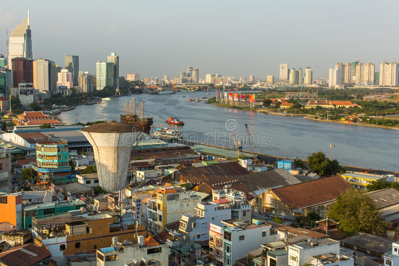 Bästa sikt av Ho Chi Minh City royaltyfri bild