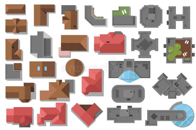 Bästa sikt av illustrationen för för hustakhöghus och skyskrapor, vektoruppsättning En samling av arkitektoniska beståndsdelar stock illustrationer