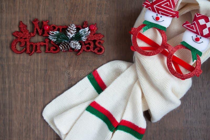 Bästa sikt av julbegreppet på träbakgrund royaltyfri foto
