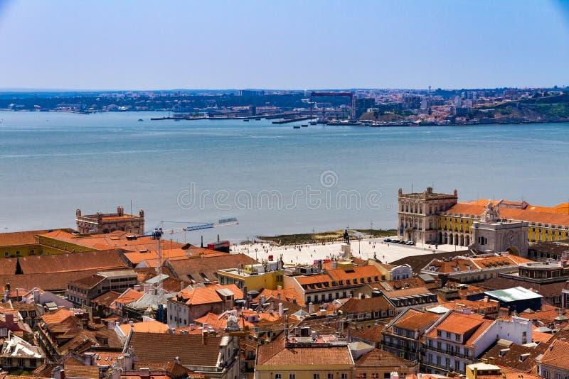 Bästa sikt av kommersfyrkanten i i stadens centrum Lissabon, Portugal royaltyfri fotografi