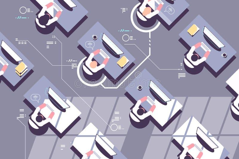 Bästa sikt av kontorsarbetare i arbetsplats vektor illustrationer