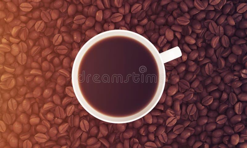 Bästa sikt av koppen kaffe på dess bönor som tonas royaltyfri illustrationer