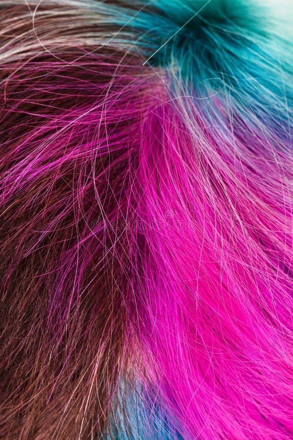 Bästa sikt av kvinnliga mångfärgade färgade hår royaltyfri fotografi