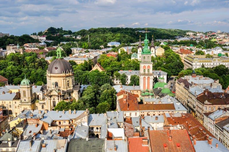 Bästa sikt av Lviven, Ukraina arkivfoto