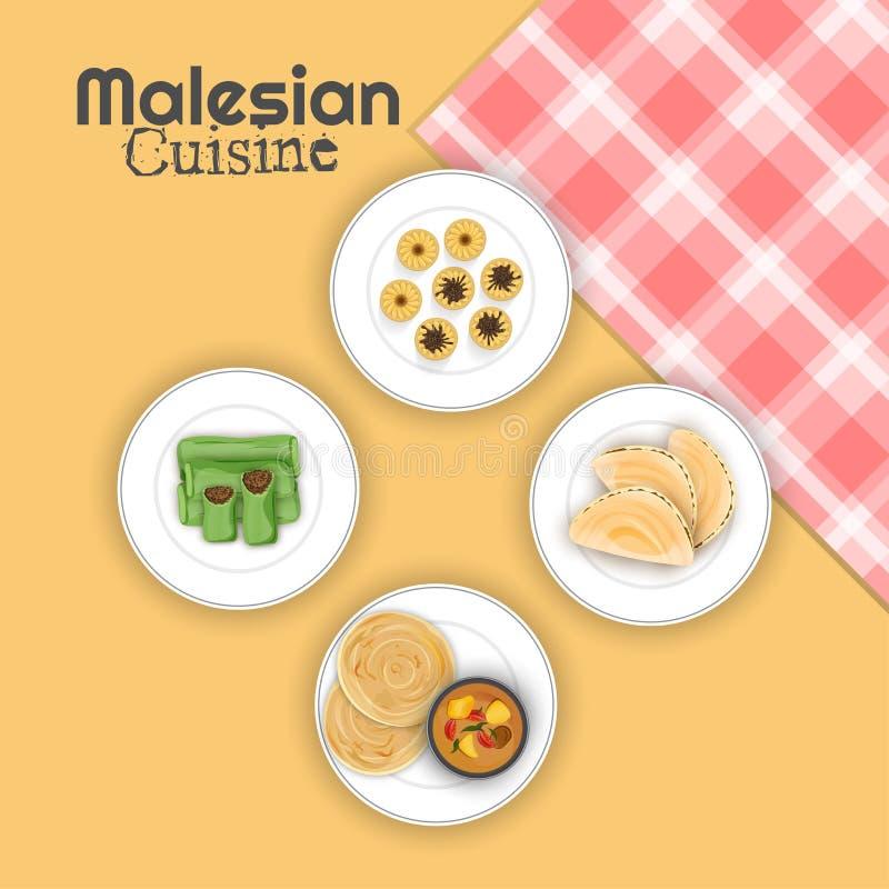 Bästa sikt av Malesian kokkonst med den rutiga servetten på gulingbac vektor illustrationer