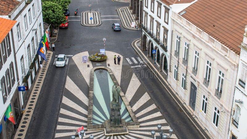 Bästa sikt av mitten Ponta Delgada, Sao Miguel Island, Portugal arkivbild