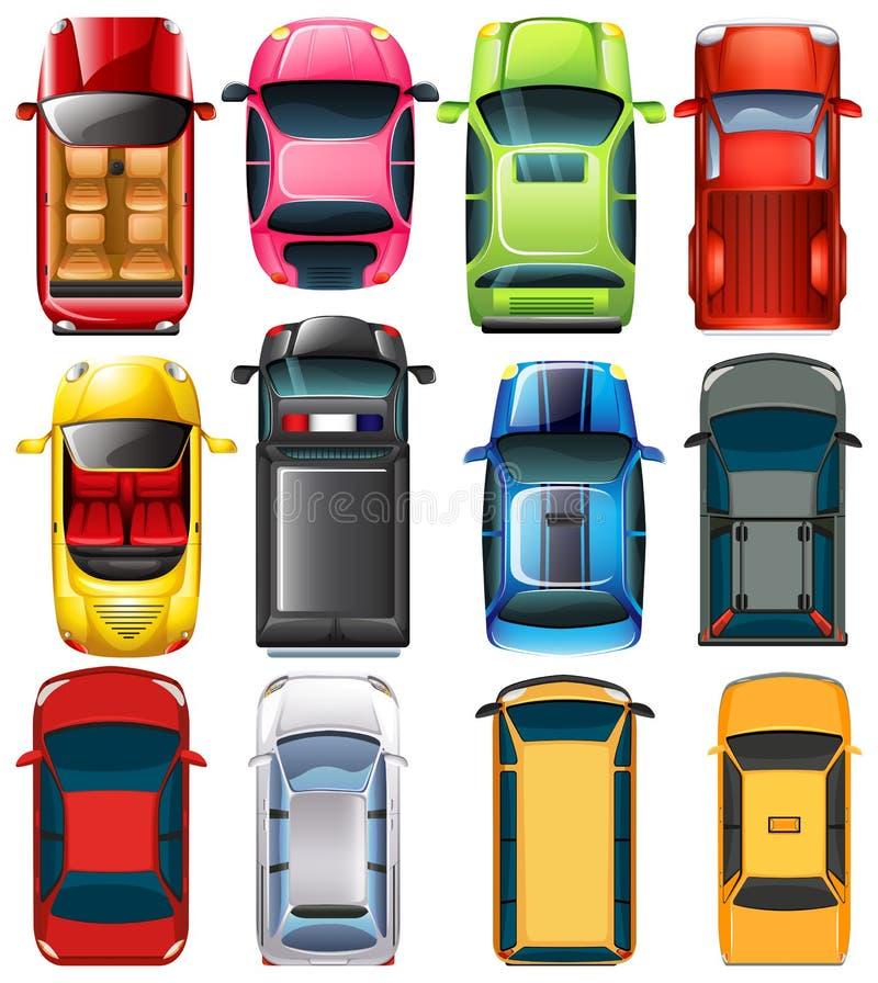 Bästa sikt av olika bilar stock illustrationer