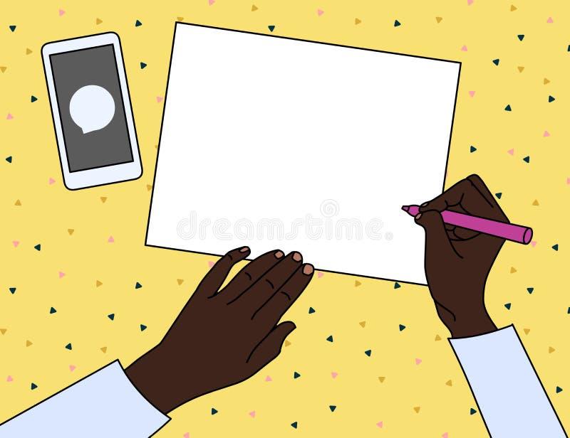 Bästa sikt av personen som sitter på skrivbordet med pennan eller blyertspennan i assistent för att skriva på tom fyrkant av papp royaltyfri illustrationer