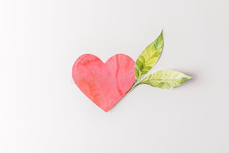 bästa sikt av röda pappers- hjärta- och gräsplansidor arkivbilder