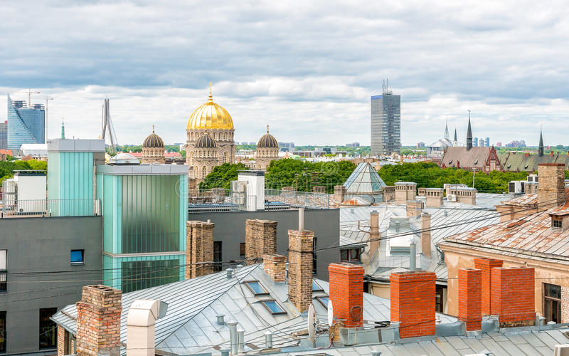 Bästa sikt av Riga, Lettland royaltyfria foton