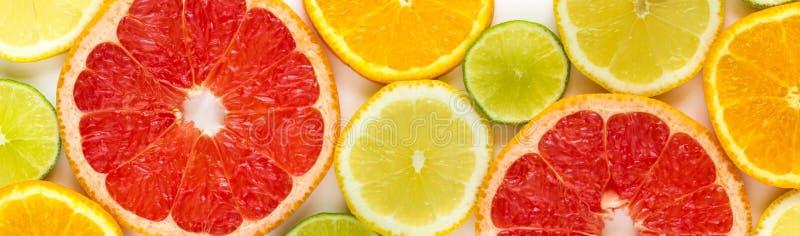 bästa sikt av skivor av citrusfrukter arkivfoto