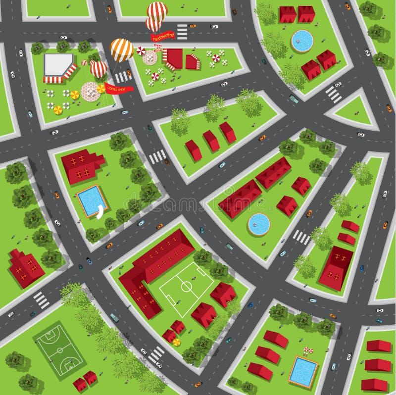 Bästa sikt av staden av gator, vägar, hus, treetop vektor illustrationer