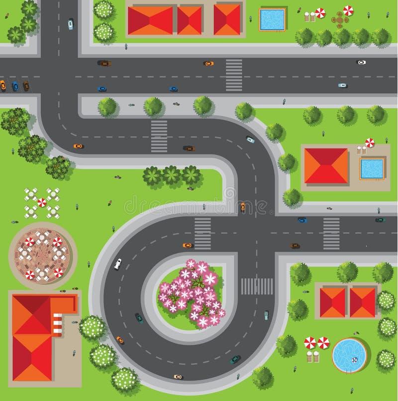 Bästa sikt av staden av gator, vägar, hus, treetop, vektor vektor illustrationer