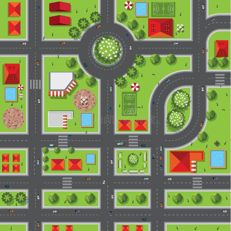 Bästa sikt av staden av gator, vägar, hus, treetop, vektor stock illustrationer