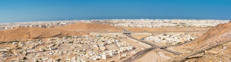 Bästa sikt av staden av Muscat arkivbild