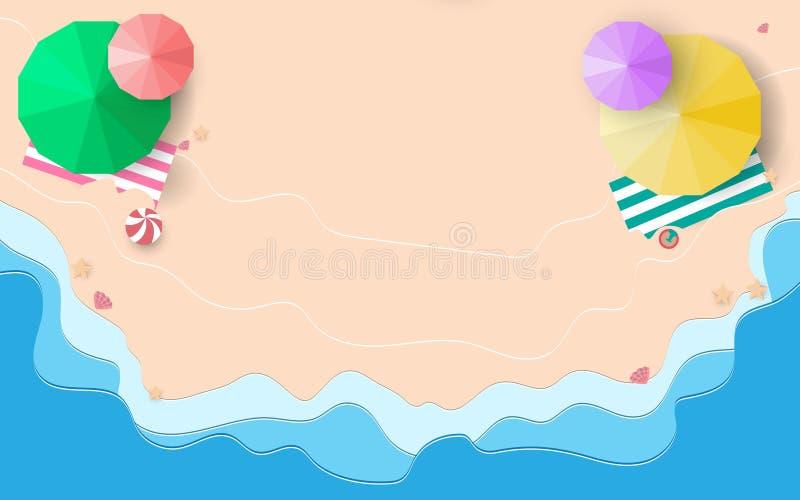 Bästa sikt av strandsand och blåa hav med paraplyer, sjöstjärnabakgrund vektor illustrationer