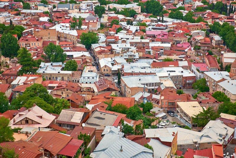 Bästa sikt av taken av gamla Tbilisi royaltyfri bild
