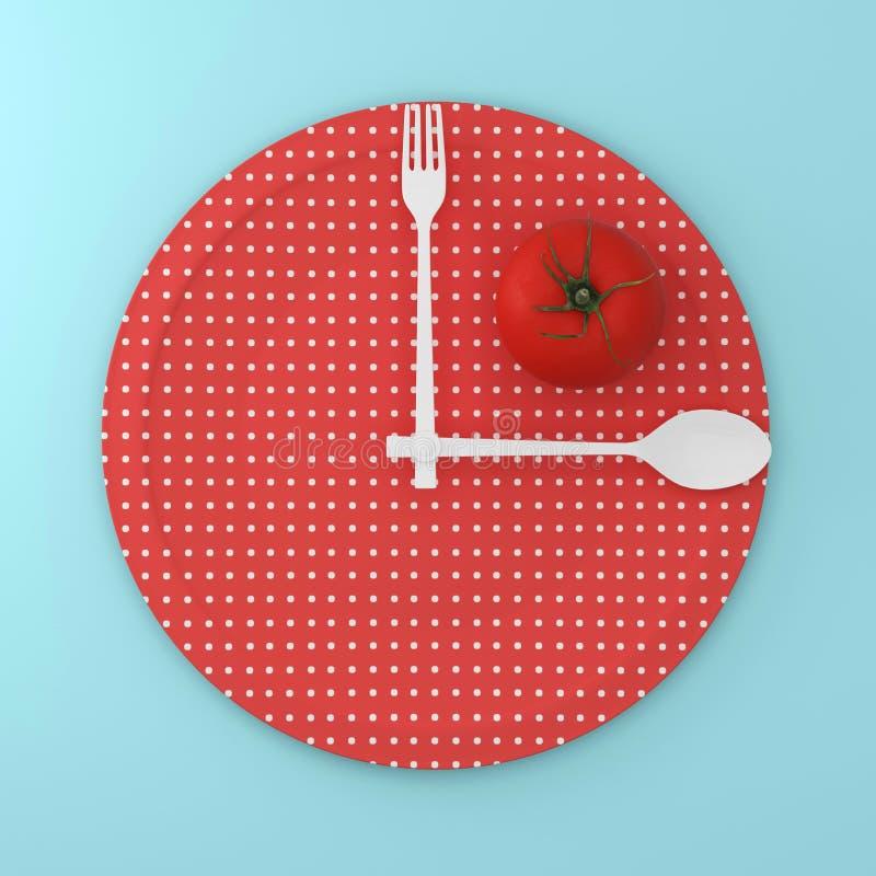 Bästa sikt av tomaten på den röda runda plattan för punktmodell med sked a vektor illustrationer