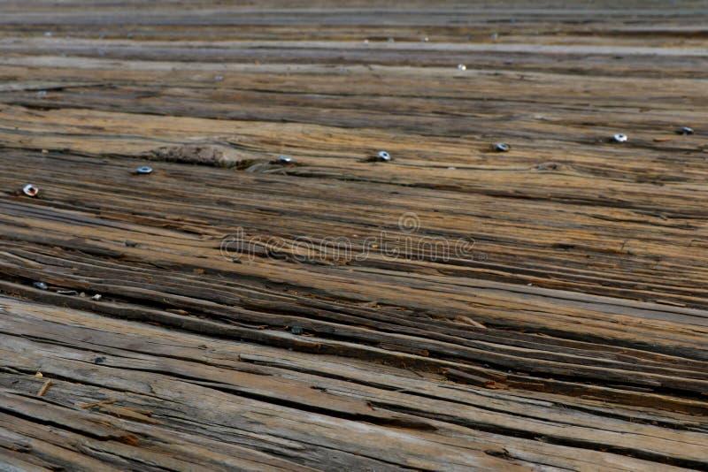 Bästa sikt av trägolvet ovanför havet i porten Stäng sig upp tappningtimmerdurk arkivbilder
