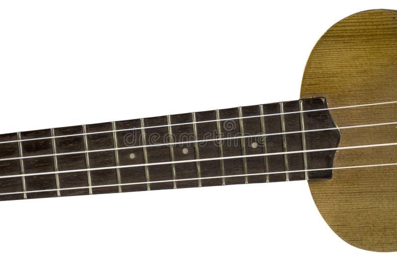 Bästa sikt av ukulelehalsen arkivbild