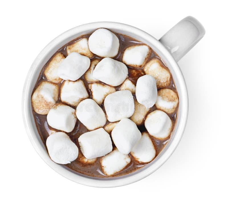 Bästa sikt av varm choklad med marshmallower arkivfoton