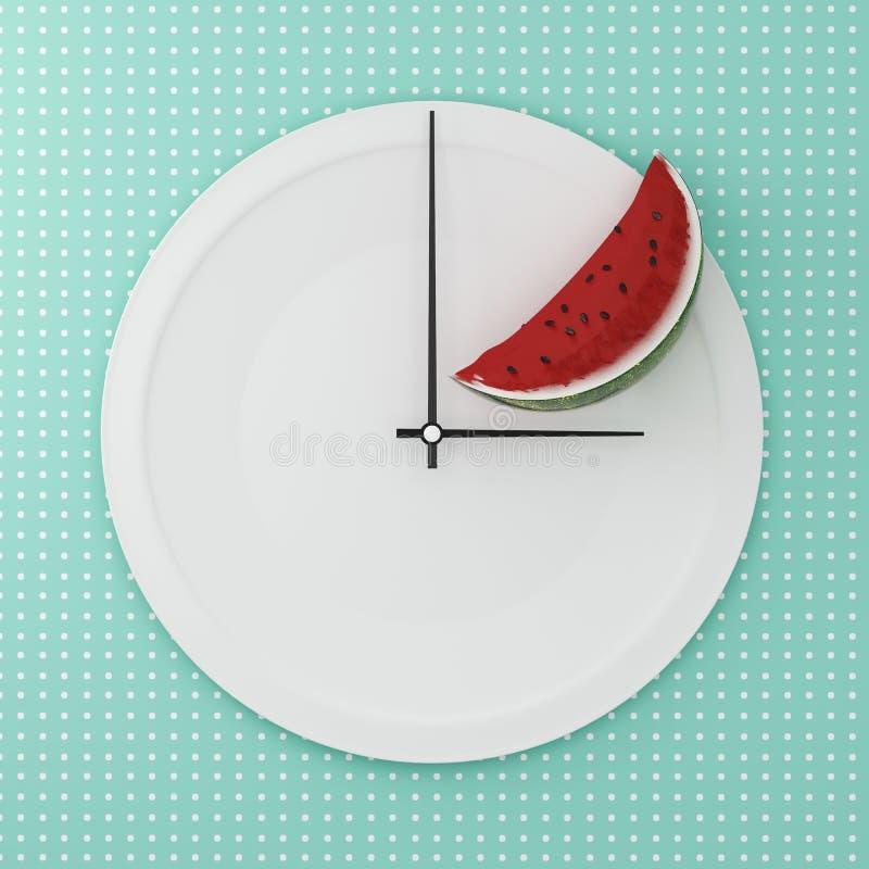 Bästa sikt av vattenmelon som är halv på vitrundaplattan i en form av cl royaltyfri illustrationer