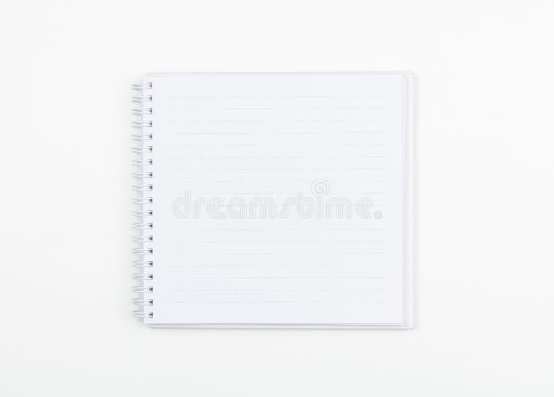 Bästa sikt av vitspiralboken på vit arkivbilder