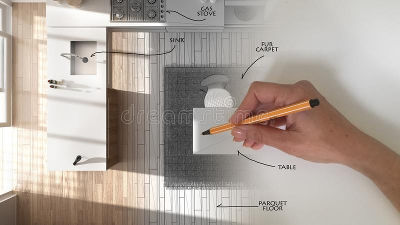 Bästa sikt, begrepp för arkitektinreformgivare: hand som drar ett inre projekt för design och skriver anmärkningar, medan utrymme royaltyfri bild
