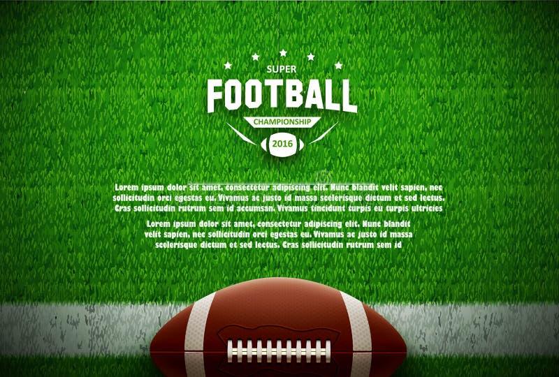 Bästa sikt för amerikansk fotboll på grönt fält royaltyfri illustrationer