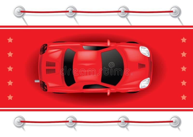 Bästa sikt för bil på röd matta stock illustrationer