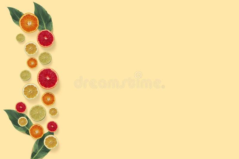 Bästa sikt för citrusfrukter på den pastellfärgade gula bakgrunden royaltyfri illustrationer