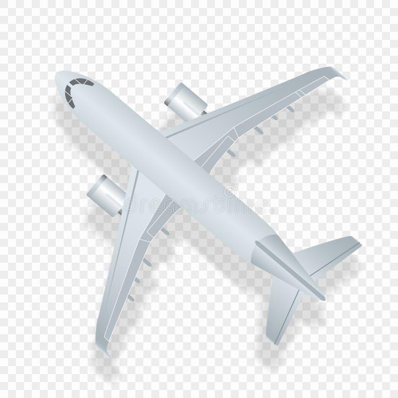 Bästa sikt för flygplan Detaled flygplan för vektorillustration höjdpunkt royaltyfri illustrationer