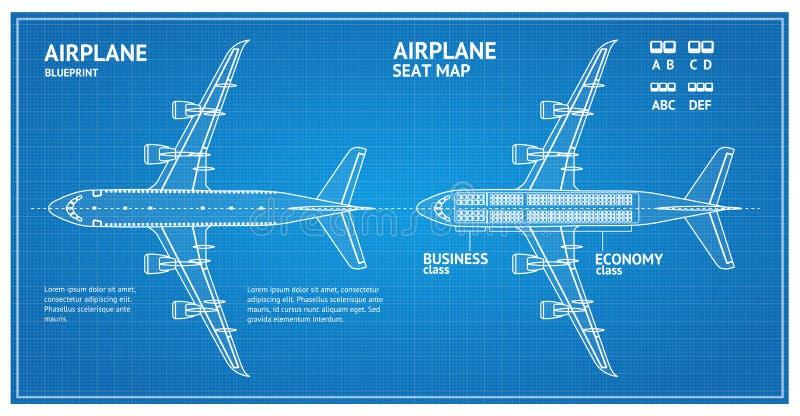 Bästa sikt för flygplanritningplan vektor stock illustrationer