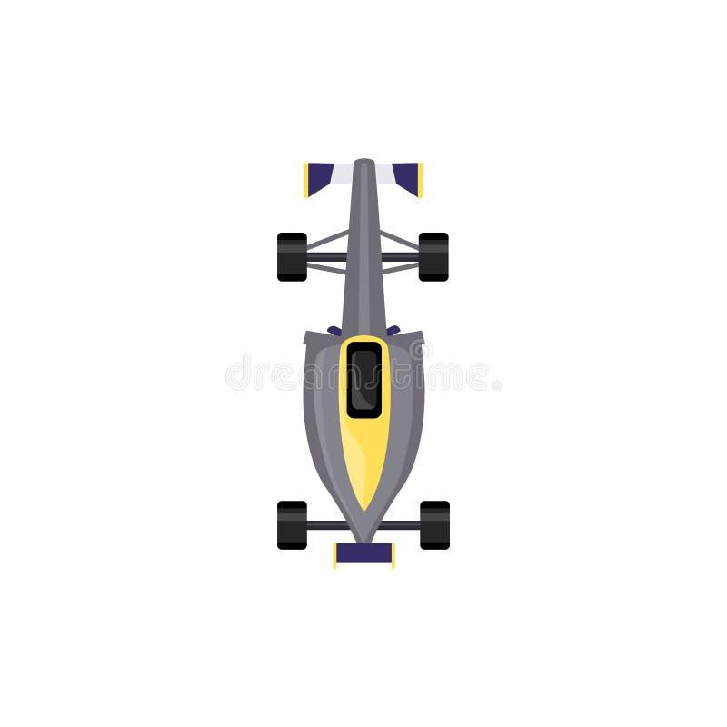 Bästa sikt för grå färgracerbil - isolerat sportmedel stock illustrationer