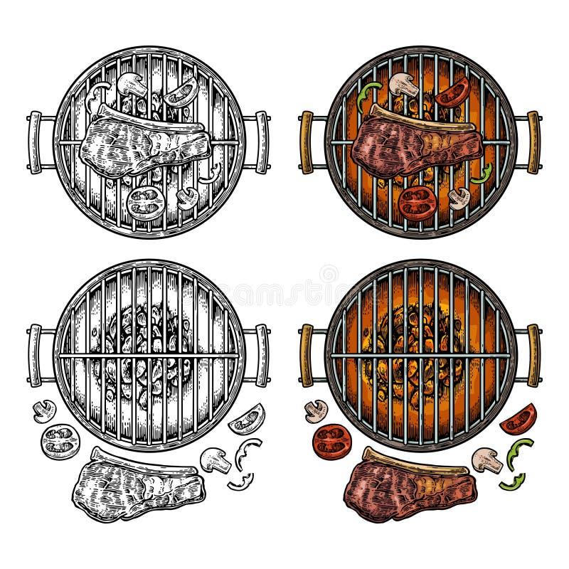 Bästa sikt för grillfestgaller med kol, champinjon, tomat, peppar, biff stock illustrationer