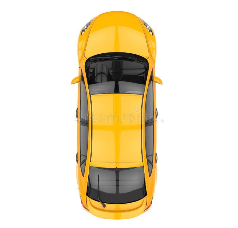 Bästa sikt för gul bil vektor illustrationer