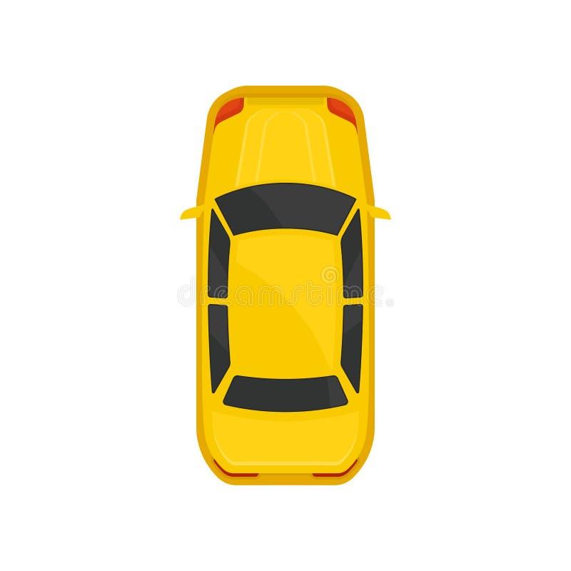 Bästa sikt för gul sedanbil, stadsmedeltransport, bil för trans.vektorillustration stock illustrationer