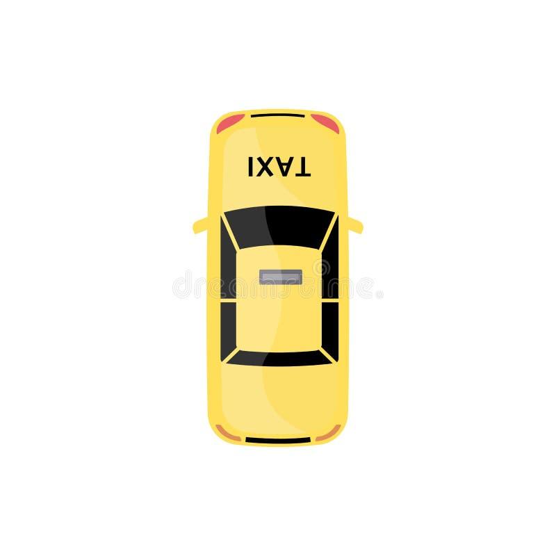 Bästa sikt för gul taxibil som isoleras på vit bakgrund royaltyfri illustrationer