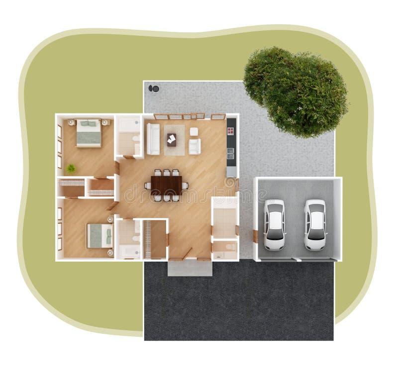 Bästa sikt för husplan royaltyfri illustrationer