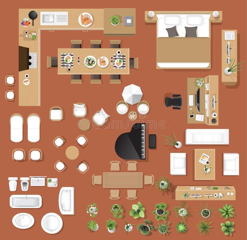 Bästa sikt för inre symboler, träd, möblemang, säng, soffa, fåtölj royaltyfri illustrationer