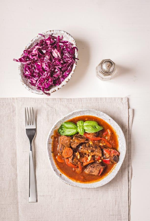 Bästa sikt för kokt nötkött royaltyfri bild