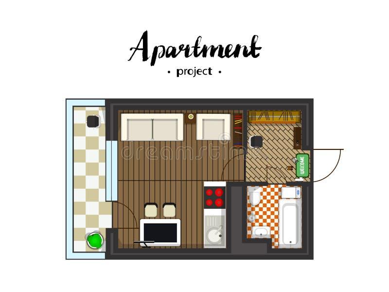Bästa sikt för lägenhetprojekt vektor illustrationer