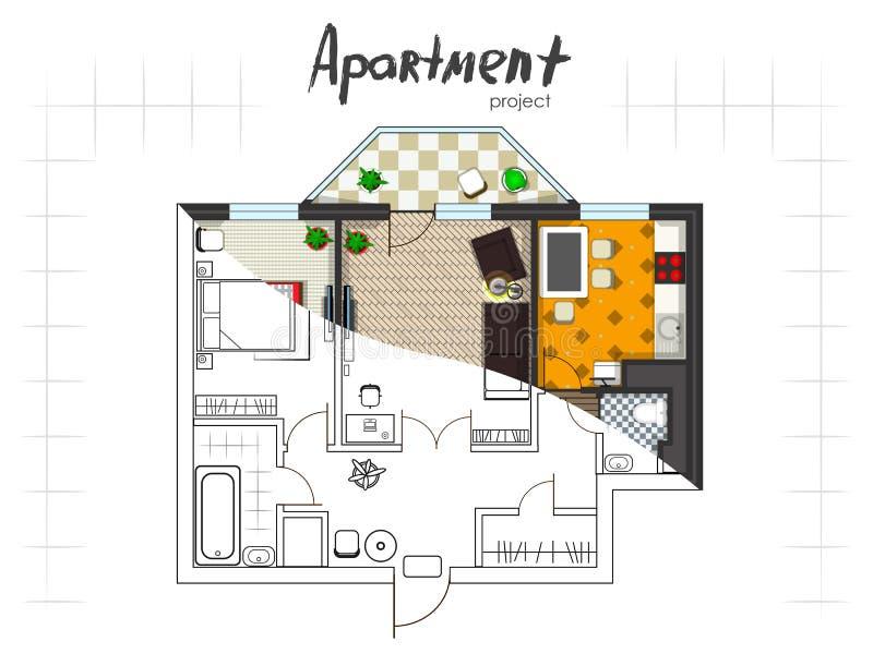 Bästa sikt för lägenhetprojekt royaltyfri illustrationer